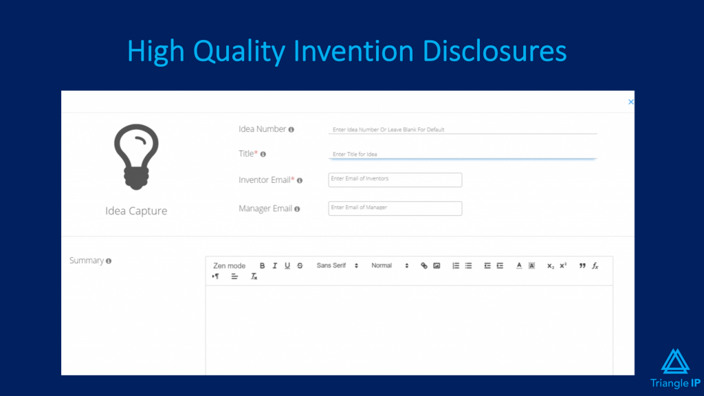 Best Intellectual Property Management Software - Triangle IP's Invention Disclosure Form