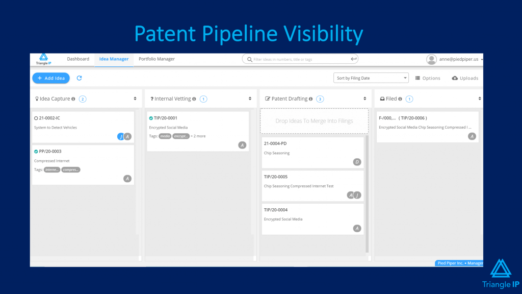 TBest Intellectual Property Management Software - riangle IP's patent pipeline visibility