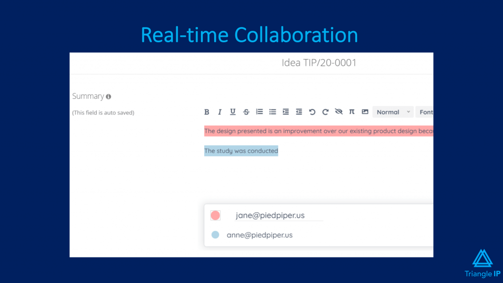 Best Intellectual Property Management Software - Triangle IP's real time collaboration feature