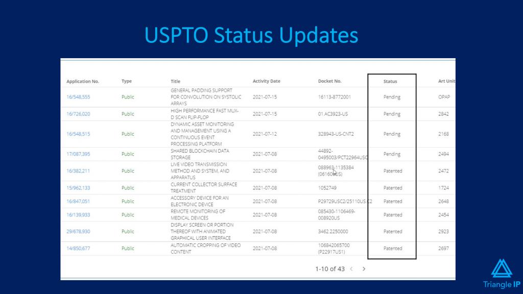 Triangle IP's USPTO Status Updates